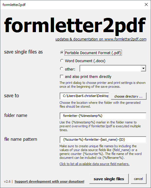 Formletter2pdf Macro Save Individual Files From Microsoft Word S